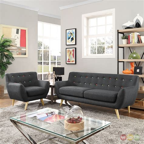 tufted sofa living room remark modern 2pc button tufted upholstered living room