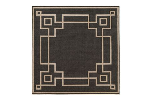 square outdoor rug greek key border black living spaces