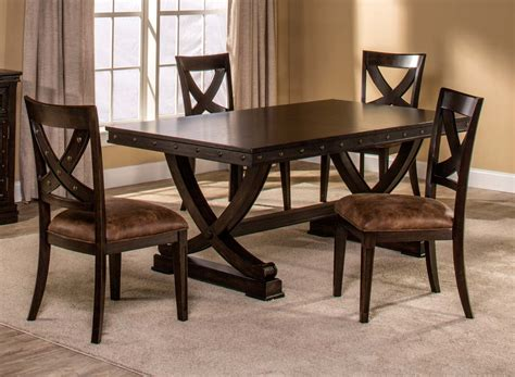 distressed dining sets hillsdale santa fe 5 trestle dining set distressed espresso hd 5890dtbc at homelement