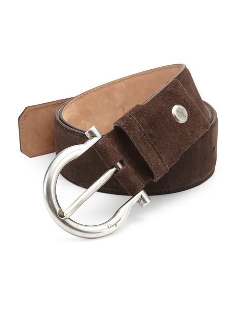 ferragamo gancini suede buckle belt in brown for lyst