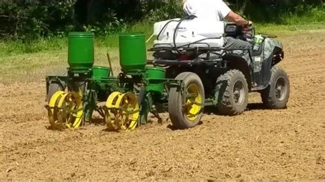 planting corn food plot with antique deere 2 row