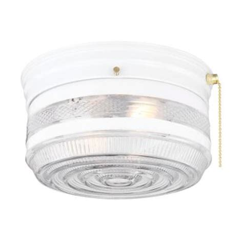 hton bay 2 light white drum flushmount fl903 the home