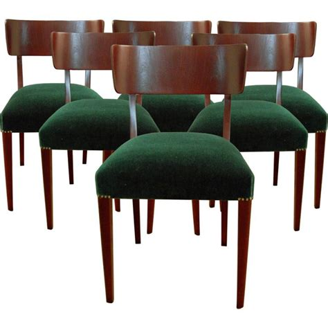 Set Of Six Swedish Art Moderne Dining Chairs Modern Green Dining Room Furniture