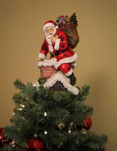 santa in chimney unique tree topper summit arbor trees