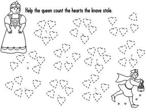queen of hearts nursery rhyme coloring page count by 5 worksheet or center activity with the queen of