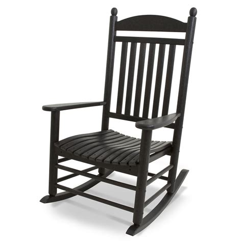 Black Resin Patio Chairs Shop Polywood Jefferson Black Plastic Patio Rocking Chair At Lowes