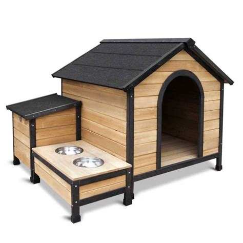 outdoor insulated dog house outdoor insulated dog house kennel w food bowls buy dog houses