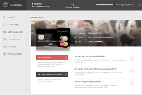 bank karte entsperren n26 konto in 214 sterreich deutscher iban der n26 bank