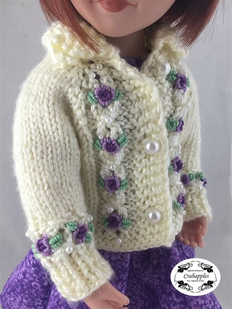 knitting patterns for a for all time crabapples eyelet cable cardigan doll clothes knitting