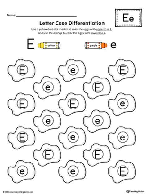letter recognition worksheet letter e
