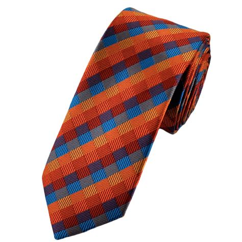 orange patterned ties shades of orange blue apricot rib patterned checked