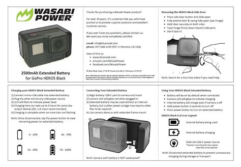 Wasabi Power Extended Battery For Gopro Hero7 Hero6 Hero5