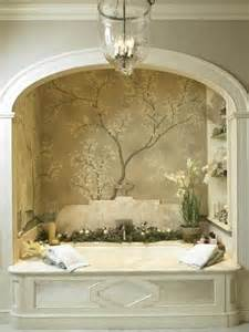 bath alcove w arch and wallpaper mural shelves marble