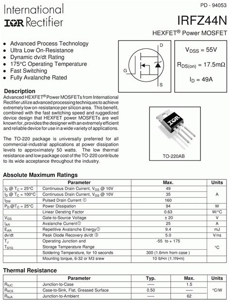 datasheet transistor irfz44n transistor irfz44 28 images 12v to 230v inverter circuit schematic using pulse width