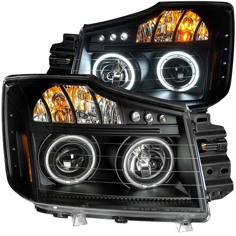 nissan headlights nissan titan 08 13 projector l e d headlights halo black
