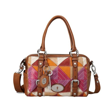 Fossil Patchwork - fossil maddox leather satchel in brown patchwork lyst