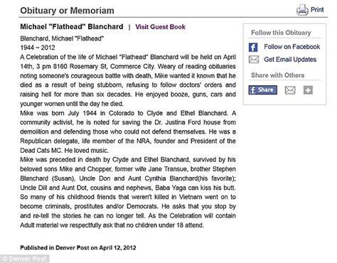 michael flathead blanchard obituary becomes internet