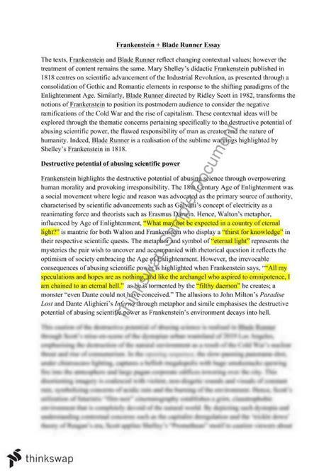 Blade Runner Essay essay questions for frankenstein and bladerunner writefiction581 web fc2