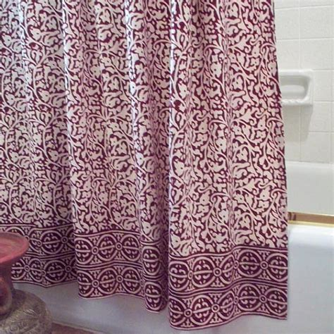 batik shower curtain chain pattern shower curtain batik burgundy block print