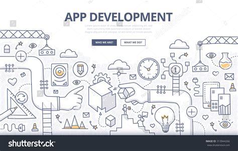 coding for doodle doodle design concept mobile application development stock