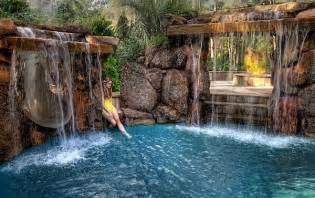 backyard pools with waterfalls backyard pool waterfalls fire pit and slide swimming pool