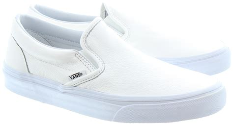 white shoes vans slip on leather shoes in white in white