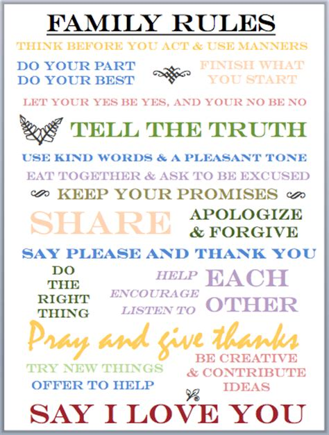 in the meantime mama family rules printable