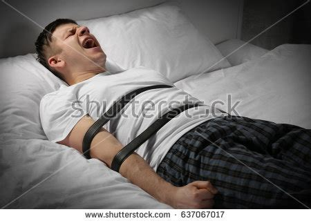 guy tied to bed sleepwalking stock images royalty free images vectors