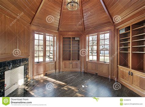 library  wood paneled walls stock photo image