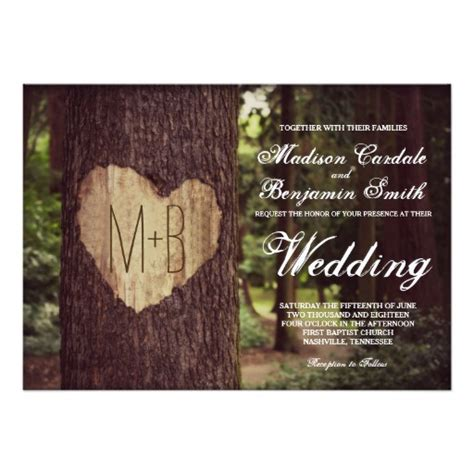 rustic tree card template carved rustic tree wedding invitations zazzle