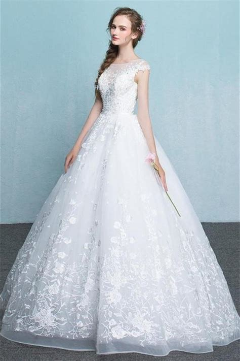 White Lace Wedding Dresses by Lace Wedding Dresses White A Line Princess Wedding