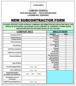 subcontractor information sheet
