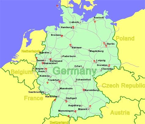map showing germany germany airports flights to germany from the uk or ireland