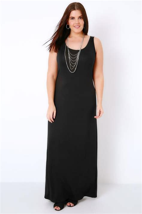black plain sleeveless jersey maxi dress  size