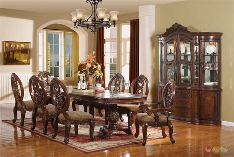 Windham Formal Dining Set Walnut Brown Wood Carved Dining Formal Dining Room Sets