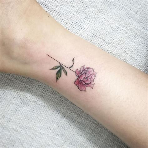 peonies tattoo tiny peony committed for
