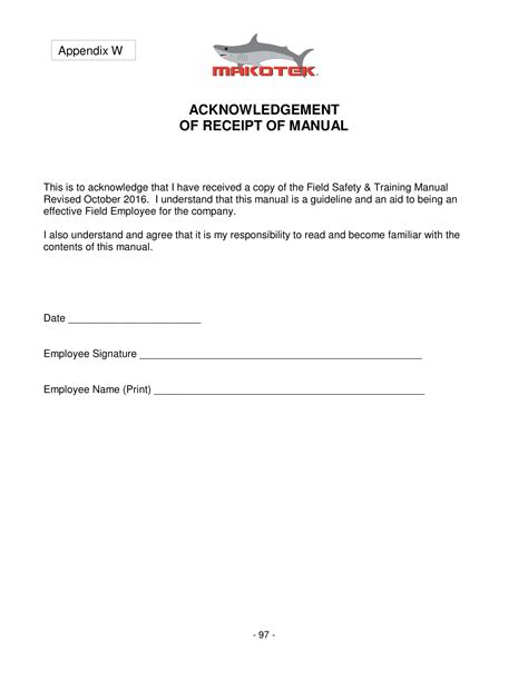 employee manual acknowledgment forms ms word