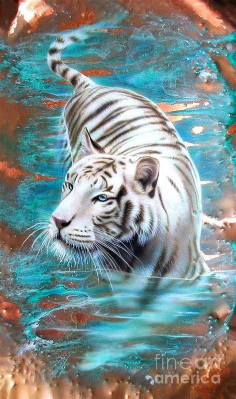 white tiger in blue water tattoo idea by fine art america