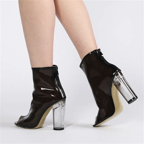 see through high heeled shoes new womens zip up clear see through block heel ankle boots