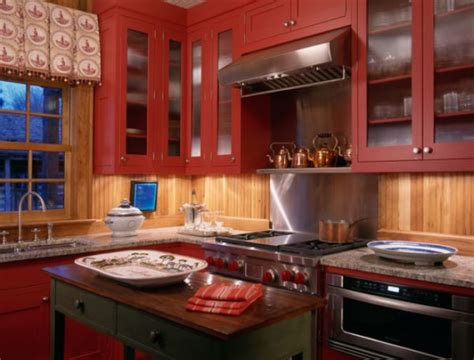 Red Painted Kitchen Cabinets by The Heart Of A Home Creating A Warm Kitchen