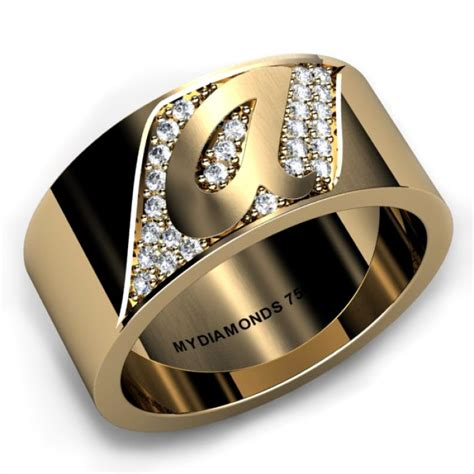 torino yellow gold gents diamond ring add  initial