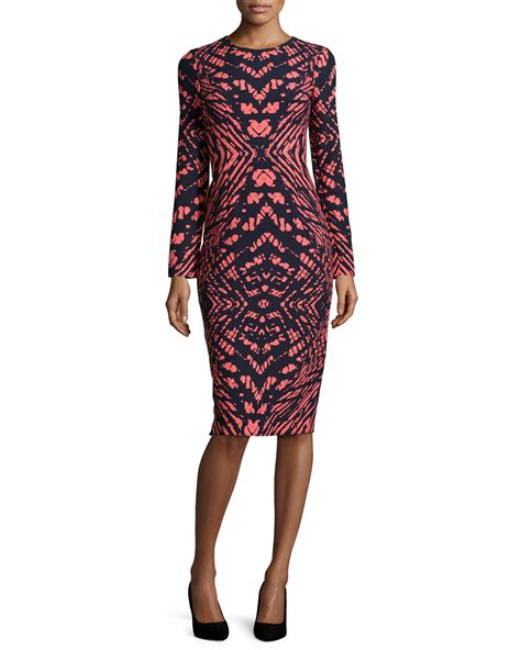 Printed Sleeve Midi Dress maggy printed sleeve midi dress in blue lyst