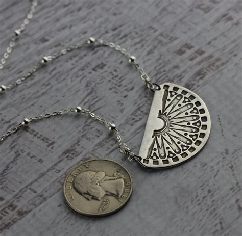 modern half circle silver modern half circle necklace with sterling