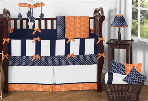 Orange And White Crib Bedding by Orange And Navy Arrow Baby Bedding 9pc Crib Set By Sweet