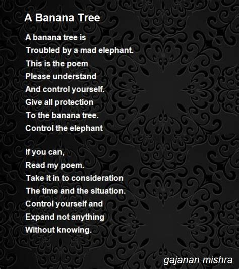 a banana tree poem by gajanan mishra poem hunter