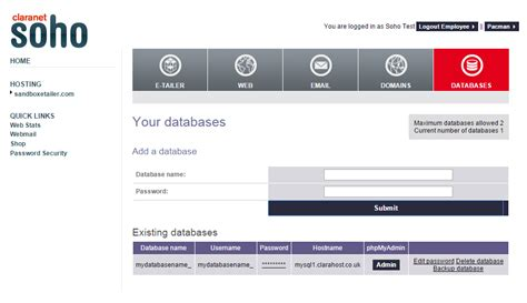 claranetsoho uk what is an mysql database and how do i add one to my
