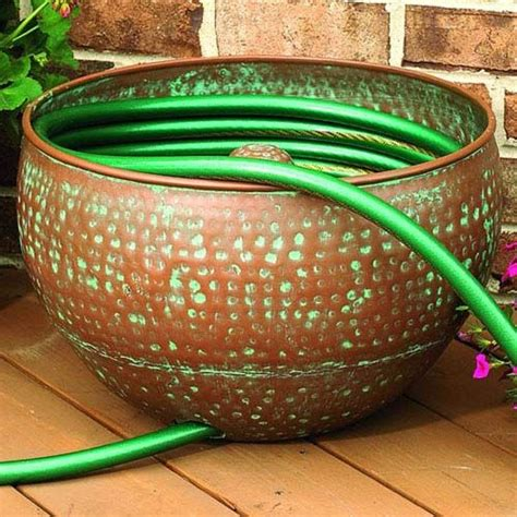 garden hose container garden hose container hammered copper finish