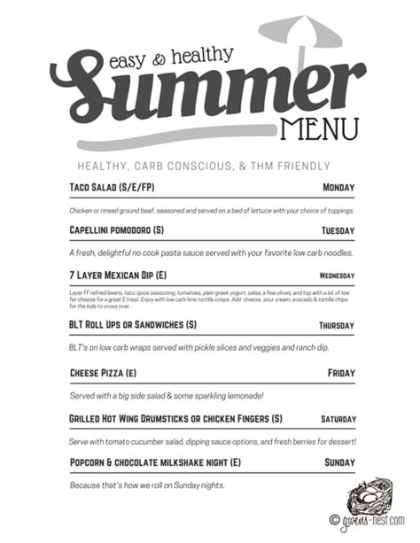 printable thm recipes thm summer menu easy dinners gwen s nest