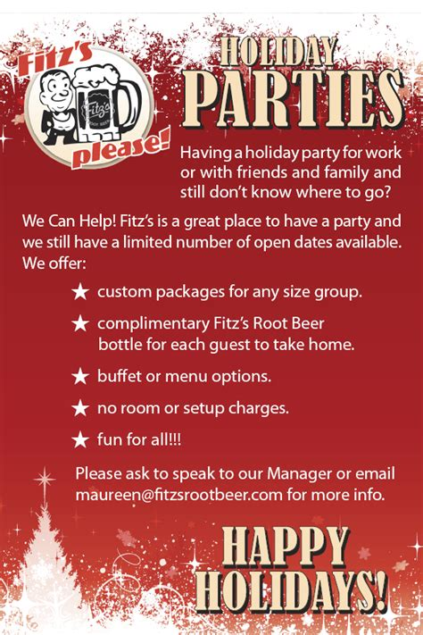 restaurant for christmas party book your at fitz s fitz s root