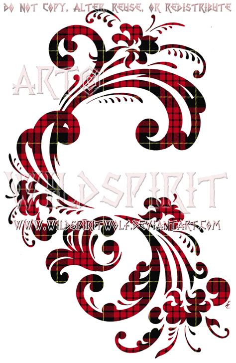 rosemaling tattoo tartan rosemaling floral design by